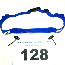 custom race number belts with logo printed
