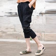 2015 spring latest women's medium waist 100 linen 3/4 harem pants