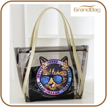 Cheap Black PVC Tote Beach Bag Cat with Glasses PVC Waterproof Clear Bag for Lady Shopping Use