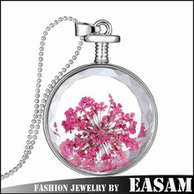 Latest model round dried flower necklace,ebay hot selling necklace,fashion necklace