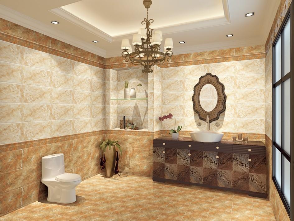 光沢のあるガラス張り600x600mmスーパーアートデザインタイル張りのバスルーム