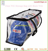 Baseball Cap Storage Bag Zipper Organizer Clear Plastic with Black Handles
