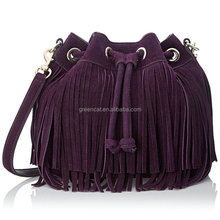 2015 women high quality fancy and trendy Europe suede leather European style fashion modern fringes handbags FA014