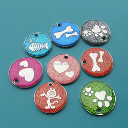 lovely round sparkling dog tag, metal pet tags, fish/bone/paw dog id tag