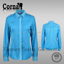 High quality women blue outdoor sports quick dry breathable polyester long sleeves polo t shirt
