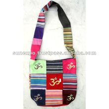 Cotton Canvas Om Design Tote Hippie Indian Sling Cross Body Bag