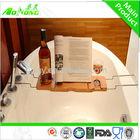 2013 venda quente do banho de bambu caddy com cremalheira do metal
