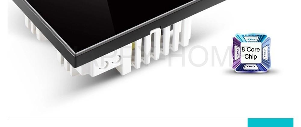 Купить 110-250 В Wallpad 6 банды 2 способ Водонепроницаемый Стекло Черный, 172*86 мм Двойной Контроль Сенсорного Управления выключатель света, Бесплатная Доставка