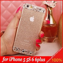 DIY Handmade Rhinestone Bling Diamond TPU Soft Bling Shining Power Case Cover for Apple iPhone 5 5s 6 6 plus