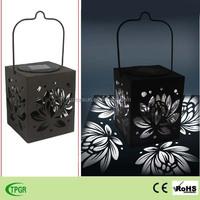 New products metal square lotus flower hand lantern solar light
