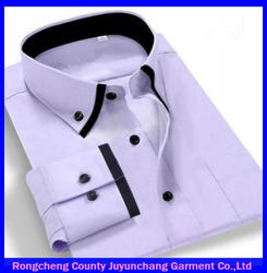 2014 solid color cotton double collar shirts for men