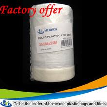 Best seller PE sticky paintable pretaped plastic masking film/ clear plastic dust cover