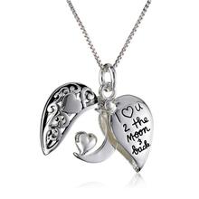 925 Sterling silver I Love U 2 The Moon and Back locket pendant necklace