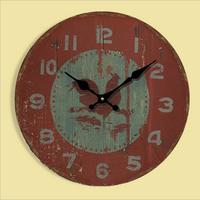 Vintage Red Rooster Wooden Wall Clock 34CM Antique Red Wall Clock