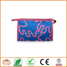 Ladies Ripple Pattern Cosmetic Bag Makeup Pouch Handbag Clutch Purse (Pink)