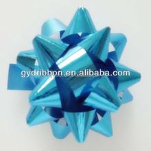 "1.5"" mini Blue metallic star ribbon bow for christmas or decorative gift"
