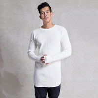 Cheap custom men's white t-shirt long sleeve extra long t-shirt
