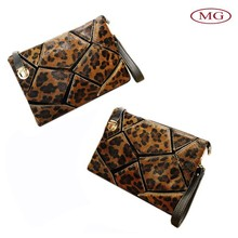 luxury genuine leather with real horse hair women clutch bag/ evening bag with removable long strap