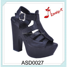 black summer pump woman chunky heel slingback buckle strap sandals