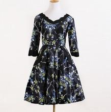 long sleeve black flower print attire cocktail dresses for women