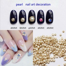 8 colors nail art pearl with metal edge diy nail art decoration