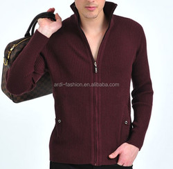 2015 latest style rib knit long sleeve mens zip cardigan