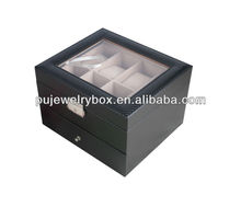 Black leather watch & jewelry storage case, multifunction gift box