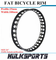 Bicycle Parts Carbon 26ER Profile 25mm Fat Wheel Rims Width 100mm Carbon Fiber Wheels Tubuless Hookless Rims Fat Bike Wheels