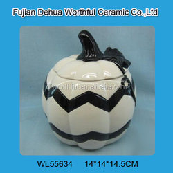 Personalized ceramic halloween containers in pumpkin shape
