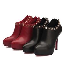 spring fall season hidden platform high heels thick heel with rivet fashion sexy women dress shoes