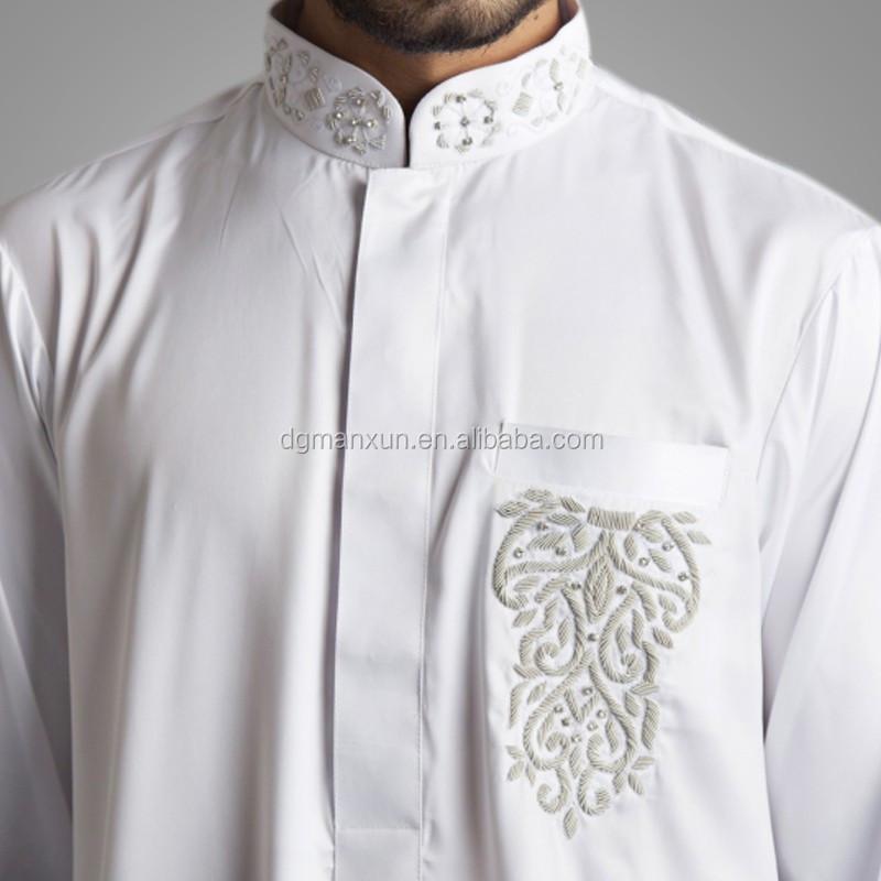 Newest Saudi Beaded Embroidered Jubbah Simple High Quality Dubai Men Thobe 2.jpg