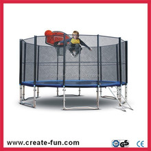 CreateFun 5FT-16FT Large Spring Round Trampoline and Safety Net with Basketball Hoop