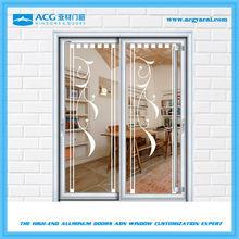 Fashionable customized aluminum stained glass sliding doors