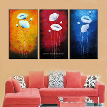 Simple modern art paintings 3 panels flower oil painting