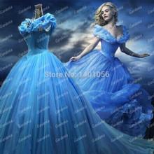 Actual Image Cap Sleeve Princess Party Dress Inspired Cinderella Prom Dress
