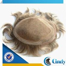 peluca de cabello natural gris cordón del frente del cordón de buena calidad para los hombres