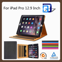 Amazon hot selling tablet accessories stand leather case for iPad pro with a pocket for file