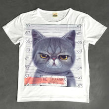 New arrival popular fashion funny cat face t-shirt for girls