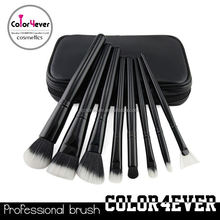 Wholesale!hot style 8pcs black case makeup brush with zipper synthetic face brush
