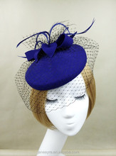2015 New Coming Women Felt Wool Fascinator Hat With Veiling