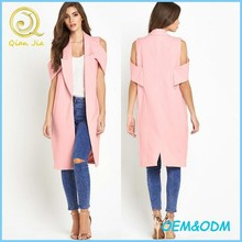 New Fashion Women Open Front Cut-out Shoulder Midi Coat