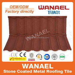 Wanael EC certified high quality stone coated metal roof tile/french roof tile