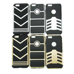 2015 Dual Layer cell phone case plastic and silicone metal case for iphone 6 4.7inch