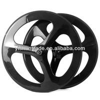 2014 YISHUNBIKE strong& stiff OEM 56mm road tri spoke carbon wheels 700c clincher bike wheelsets