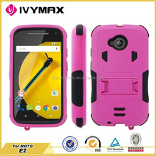Rugged Dual Layer Armor Hybrid Case With Stand for motorola moto e2/e lte