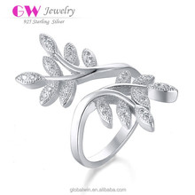 2015 New 925 Sterling Silver Wholesale Fashion Jewelry Elegant Crystal CZ European Style Women's Leaves Ring