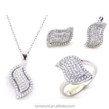 White Gold Plated Shining Leaf Design Wholesale Wedding Rhinestone Jewelry Set
