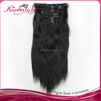 Kimberlyhair Top quality tangle free cheap 100 russian virgin remy real human hair clip hair extension