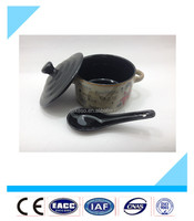 wholesale high quality lids soup bowl ceramic with spoon