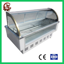 Arc-shaped glass wide vision stainless steel refrigerator